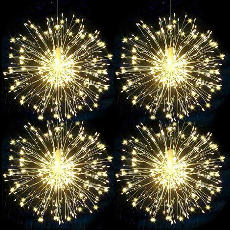 LITZEE Guirlandes Lumineuses Feux d'artifice LED Starburst Guirlandes à Piles Noël Guirlandes Sapin lumineuses 8 Modes d'Eclairage avec Télécommande Sans Fil Décor Maison Jardin (Lumière chaude 4pcs)