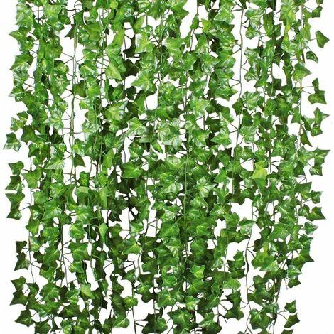 LITZEE - Guirnalda de hiedra artificial para colgar, 12 piezas, guirnalda de hiedra artificial, 84 pies, boda de hiedra artificial para oficina, cocina, jardín, decoración de pared para fiestas