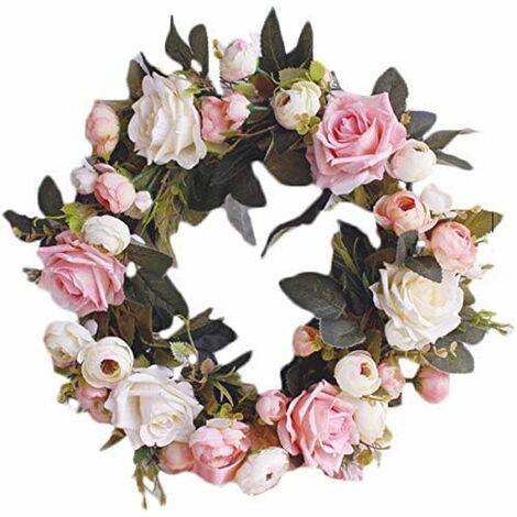 LITZEE Guirnalda decorativa de pared Guirnalda hecha a mano para puerta exterior Guirnalda de flores de vid rosa Guirnalda de flores decorativas artificiales (rosa rosa, diámetro 35 cm)