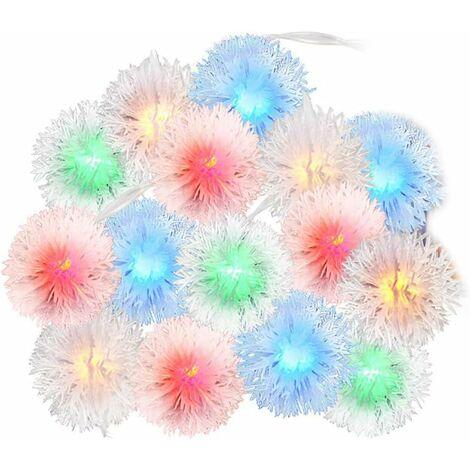 LITZEE - Guirnaldas de bolas de nieve, 8.2 pies / 20 luces LED de cadena de Navidad con control remoto, decoración impermeable para interior y exterior, árbol de Navidad para fiestas de bodas (colorido)