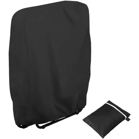 LITZEE Housse de protection pour chaises de jardin résistante aux UV Résistant au vent pour meubles de jardin Deckchair Chaise longue pliable avec sac de transport Oxford Noir