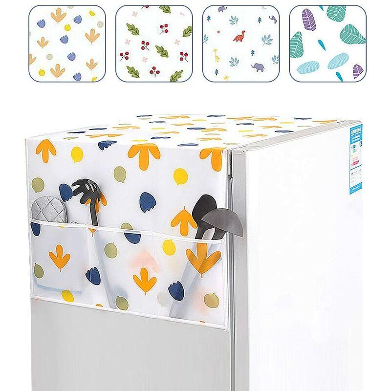 Housse de protection pour réfrigérateur, 4 pièces Multifonctionnel couvercle de machine à laver avec poches de rangement latérales Étanche Couvercle