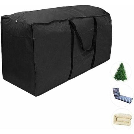 LITZEE Housses de coussin d'extérieur Sac de rangement meuble 210D Résistant à l'eau jardin Patio siège couette arbre de noël zippé housse de protection rangement porter sac à main noir (S: 116*47*51cm)