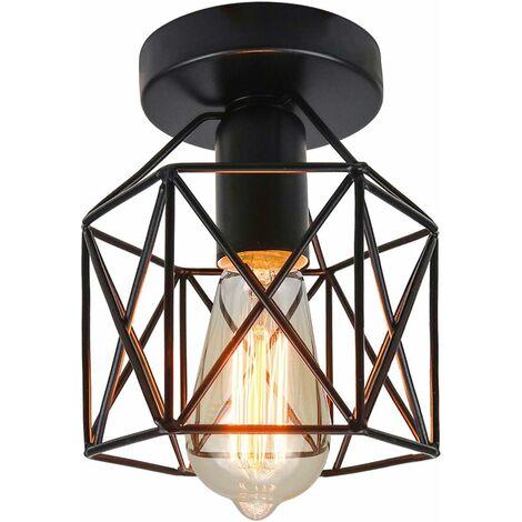 LITZEE Industriel Plafonnier Industrielle Vintage Plafonnier Suspension Luminaire pour Entrée,Porche,Couloir,Salle à Manger. (Noir1)