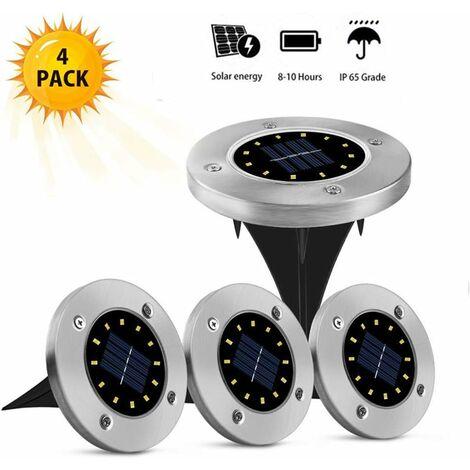 LITZEE juego con 4 luces solares para exteriores - 12 LED - luces solares - a prueba de agua - acero inoxidable - iluminación exterior - para césped, camino de patio, camino de patio, camino de patio, camino, camino de entrada, blanco cálido