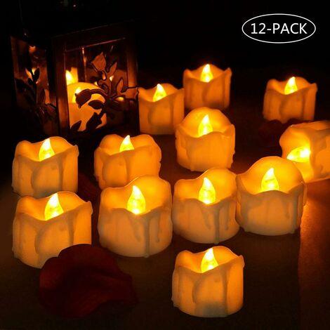 LITZEE Juego de 12 velas LED, llama parpadeante, funciona con pilas, velas LED ligeras, realistas y brillantes, velas eléctricas falsas, decoración de Halloween para bodas, bodas, fiestas (amarillo claro)