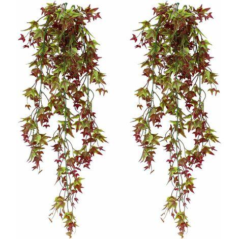 LITZEE - Juego de 2 plantas de vid de hiedra artificial, hiedra falsa para colgar en casa, oficina, exterior, interior, decoración roja
