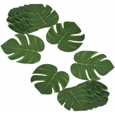 LITZEE Juego de 24 hojas tropicales artificiales de 8 pulgadas para fiestas en la jungla, fiestas en la playa, decoración de bodas