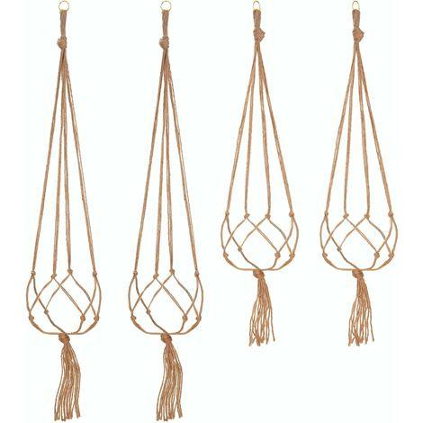 LITZEE - juego de 4 cuerdas para colgar macramé, macetero, colgador para plantas, interior y exterior, decoración de jardín con 2 piezas de 105 cm y 2 piezas de 90 cm, 4 pies