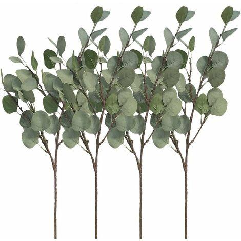 LITZEE - Juego de 4 hojas de eucalipto plateadas, rama de 60 cm, planta artificial, flor artificial, follaje artificial para fiestas, bodas, decoración del hogar