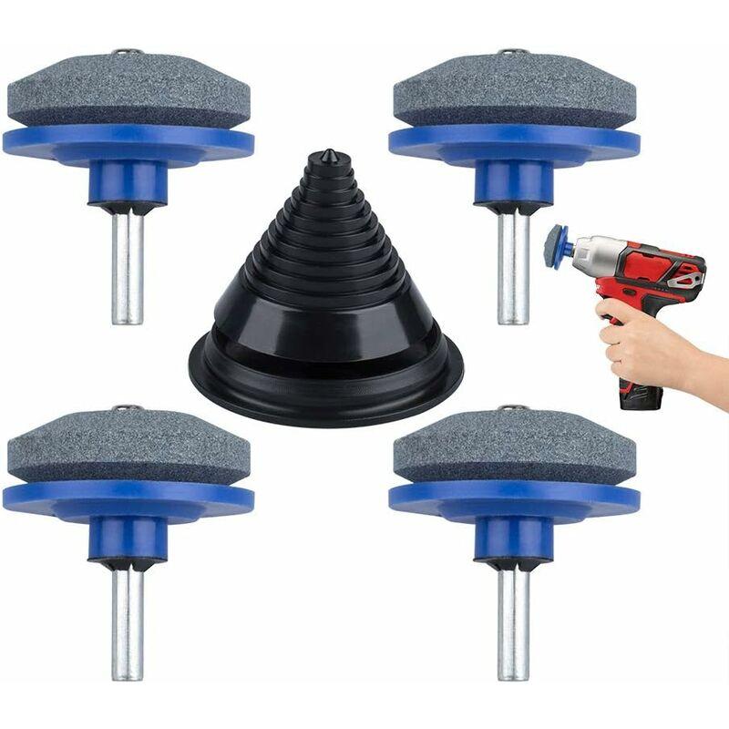 LITZEE juego de 4 taladros de mano universales para cortacésped con 1 afilador de compensación para jardín, jardín, cocina azul