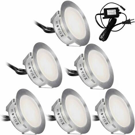 LITZEE - Juego de 6 luces LED para terraza, IP67, impermeable, para exterior, planta baja, luz LED para terraza, luces LED de bajo voltaje para jardín, escalones de jardín, escalera, patio, terraza de piscina, decoración de cocina