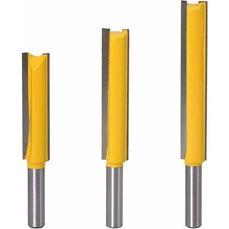 LITZEE Juego de mandíbulas rectas de vástago de 8 mm Cortadores de madera de carburo Herramientas de carpintería 3 piezas Cortadores rectos extra largos 8 * 1/2 * 50, 8 * 1/2 * 63, 8 * 1/2 * 76