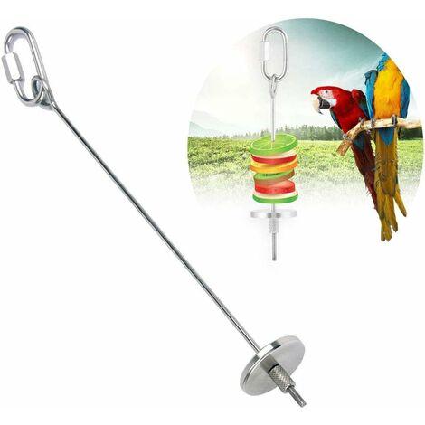 LITZEE juguete para loros pincho de acero inoxidable soporte para frutas para loros pincho para loros jaula de loros juguete de comida para jaulas de periquitos, pájaros loros, periquitos, periquitos (20 cm)