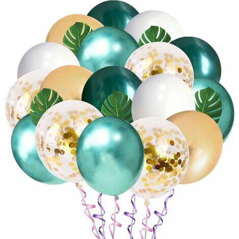 LITZEE Jungle Decoraciones de cumpleaños, globos verdes de oro blanco de 12 pulgadas con hojas de palmera, globos de látex y globos de animales del bosque de safari para decoración de baby shower de cumpleaños de niño (50 piezas)