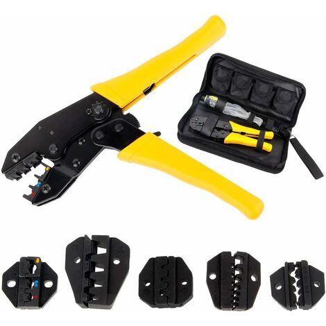 LITZEE Kabelcrimper - mit 5 austauschbaren Backen - Schraubendreher - Crimpwerkzeug Crimpzange - Aufbewahrungskoffer