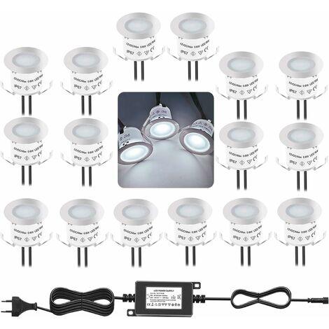 LITZEE Kit d'éclairage de pont à LED encastré, 4000K blanc naturel 12V étanche IP67, éclairage au sol pour escalier de piscine, marche, salle de bain, jardin, patio et paysage, intérieur et extérieur (lot de 16)