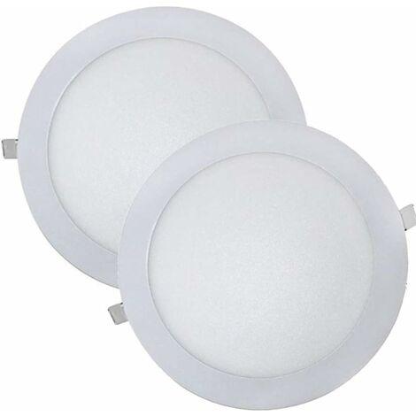 LITZEE (LA) 2x Panel LED redondo 18w (empotrable). Downlight, color blanco frío (6500K), incluido el controlador. Corte estándar 200 mm. 225 mm de diámetro. 1600 lúmenes reales! [Clase energética A ++]