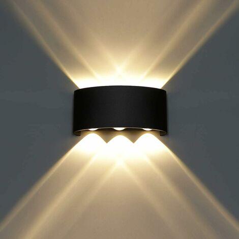 LITZEE Lámpara de pared LED moderna 6W Blanco cálido [Clase energética A +] para baño Porche Dormitorio Pasillo Sala de estar Escalera - Negro