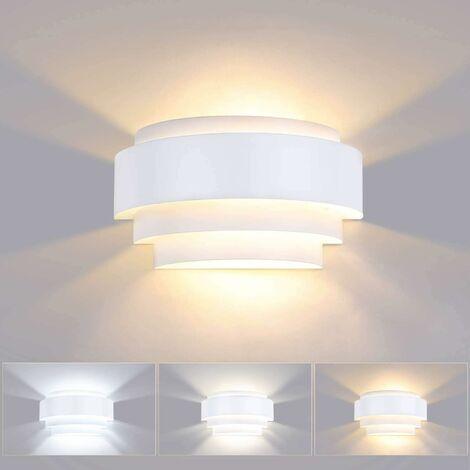 LITZEE - Lámpara de pared para interiores de 12 W, LED, 3 temperaturas de color, iluminación de pared de metal moderna para dormitorio, escaleras, tienda, sala de estar, oficina, porche, blanco cálido / frío / neutro