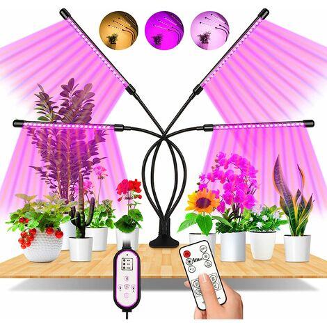 LITZEE Lámpara de planta, 80 LED Lámpara de crecimiento de 360 ° Iluminación de jardín con lámpara de planta de 4 cabezales Lámpara de crecimiento de espectro completo con temporización AUTO - ON / OFF 4H / 8H / 12H