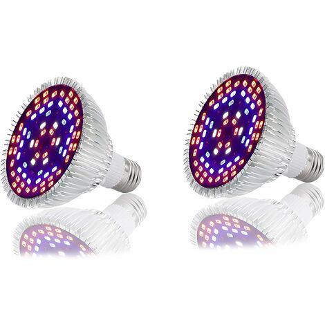 LITZEE Lámpara LED de espectro completo, luz LED de crecimiento de espectro completo E27 Lámpara de espectro completo con sistema LED para plantas hidropónicas, plantas de interior orgánicas de invernadero (2,50 W)