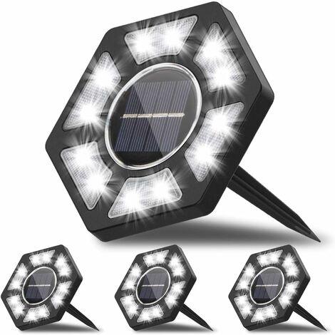 LITZEE - Lámpara solar para exteriores de 4 piezas, iluminación LED para exteriores con luz blanca, impermeable, IP67 para exteriores, jardín, patio, césped, patio