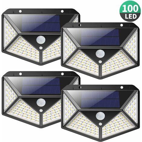 LITZEE Lámpara solar para exteriores 【Potente versión Paquete de 4】 100 LED 2200 mAh Iluminación exterior impermeable Luz solar de 270 ° Detector de movimiento Lámpara de pared solar de punto solar de 180 ° para jardín