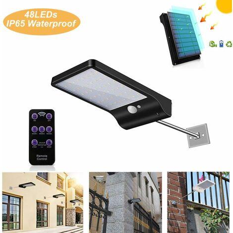 LITZEE Lámpara solar para uso en exteriores 48 LED con sensor de movimiento Regulable con control remoto inalámbrico Lámpara solar impermeable para valla de patio Puerta de pasillo negra con varilla