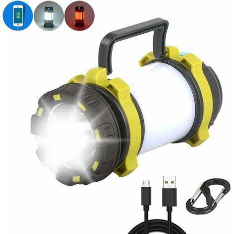 LITZEE Lampe de Camping, LED Lanterne de Camping Etanche IPX4 Lampe Torche Rechargeable, 3000mAh 3 Mode d'éclairage pour Camping Bivouac Cave Bricolage