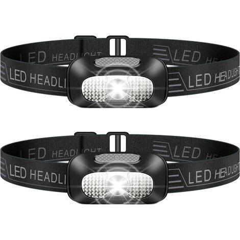LITZEE Lampe Frontale LED, 2 Pièces Léger Torche Frontale Rechargeable USB, Torches Frontales Étanche Puissante pour Camping, Escalade, Chasse, Pêche