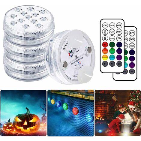 LITZEE Lampe Piscine LED Lumières LED Submersibles, Temps d'éclairage 30-50 heures IP68 Étanche 16 RGB Couleurs Changement Lampes Décoratives pour Aquariums Baignoire,Vase,Piscines,Étangs (4 Pcs) [Classe énergétique A+]
