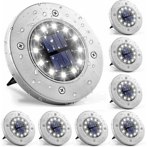 """main image of """"LITZEE Lampes solaires au sol, 8 Pièces 12 LED Éclairage pour chemins, IP65 étanche Lumiere Solaire Extérieur pour Jardin, Patio"""""""