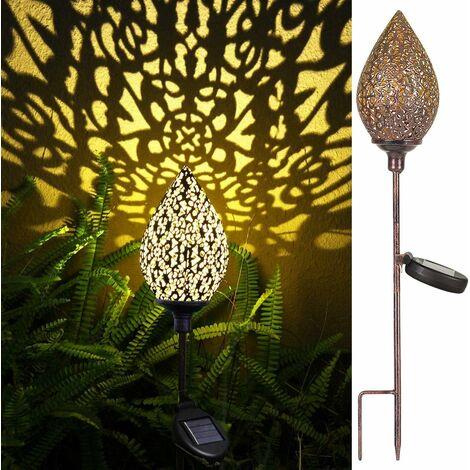 LITZEE Linterna Portátil - Linterna Solar Jardín Decoración Exterior Luz Solar Impermeable (Oliva) - A Bordo