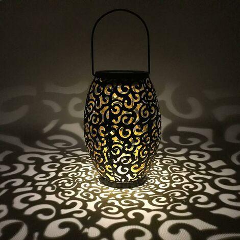 LITZEE Linterna Solar colgante, Paisaje propicio LED Silueta marroquí Lámpara de linterna al aire libre Luz solar para jardín Impermeable IP44 para patio