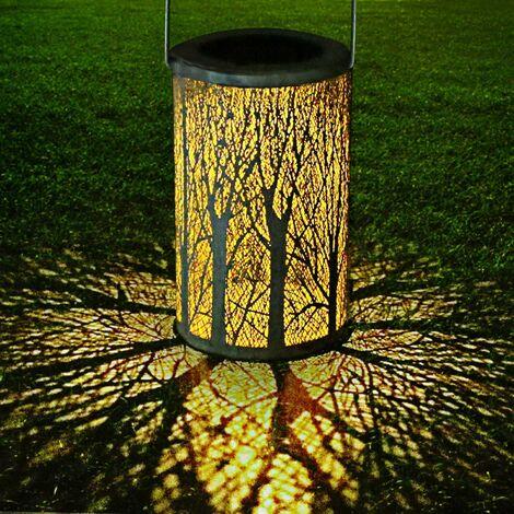 LITZEE - Linterna solar LED, luz colgante para exteriores, luz colgante decorativa de metal vintage, impermeable, IP44, silueta marroquí para jardín, patio, césped, pasillo, pasillo