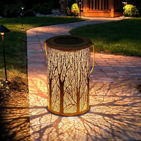 LITZEE Linterna solar para exteriores, linterna solar de jardín para atmósfera decorativa Lámpara solar para exteriores, impermeable, IP44, linterna solar LED para fiestas, pasarelas, Yard-12.5 * 12.5 * 20cm