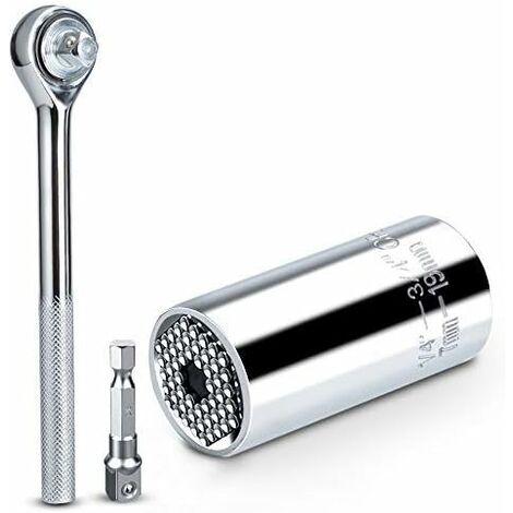 LITZEE - Llave de tubo universal de 3 piezas, 7-19 mm, enchufe universal, CR-V de alta calidad, herramienta de mano multifuncional, adaptador de llave, herramienta de reparación de taladros que se adapta a todas las formas