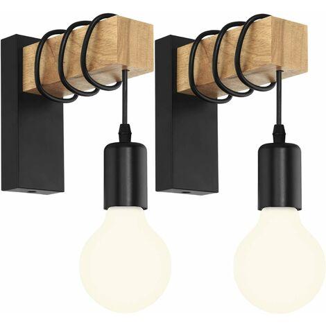 LITZEE Lot de 2 Applique Murale Intérieur Vintage Industrielle Lampe Murale E27 Luminaire Abat-jour en Métal avec Support en Bois pour Salon Couloir Bar (Douille Noire)