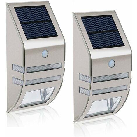 LITZEE Lot de 2 lampes solaires LED MianBaoShu-Étanches-En acier inoxydable-Appliques murales pour l'extérieur-Avec capteur de mouvement 90 °Grand angle- Éclairage pour jardin,terrasse,chemin,etc.