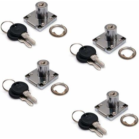 LITZEE Lot de 4 serrures de placard et tiroir avec 2 clés, cylindre de serrure de meuble, serrure à came en alliage de zinc pour porte, armoire, tiroir, boîte aux lettres (22 mm)
