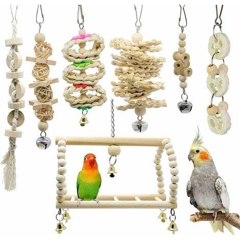 LITZEE Lote de 7 juguetes masticables para pájaros, loros, periquitos, periquitos, guacamayos, agapornis