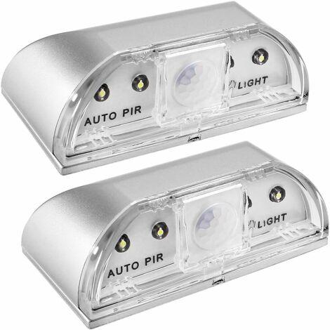 LITZEE Luces nocturnas para cerradura, juego de 2 luces nocturnas LED infrarrojas infrarrojas PIR para cerradura de puerta, detector de movimiento automático