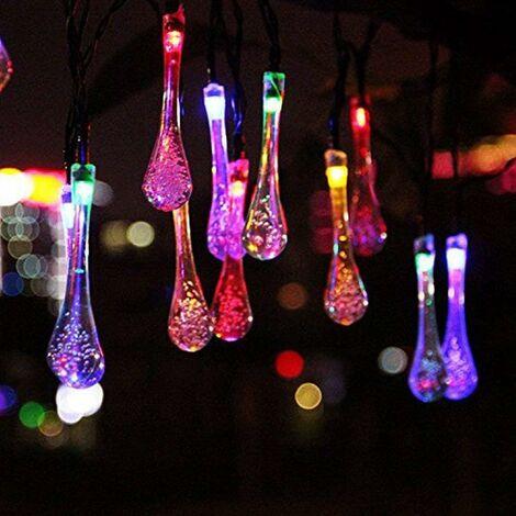 LITZEE luces solares para exteriores, multicolor, led, impermeable, batería, guinguette, 6,5 metros, 30 ledes, 8 modos decorativos para jardín, terraza, hogar, fiesta de Navidad, patio, balcón, encendido / apagado automático
