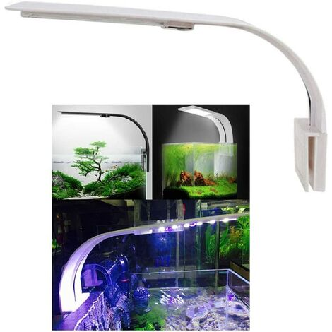 LITZEE Lumiere Aquarium Lampe LED Eclairage Blanc et Bleu Nano à Clip pour Poisson Plantes 23-50 cm