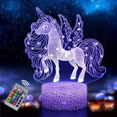 LITZEE - Luz de noche de unicornio para niños y bebés, lámpara de ilusión 3D recargable, 16 colores cambiantes con control remoto, regalo de cumpleaños y vacaciones para niños y niñas (Unicorn2)
