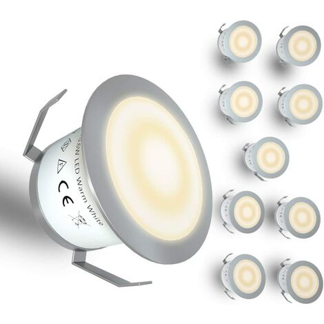 LITZEE Luz LED para terraza de bajo voltaje, kit de luz LED empotrada para terraza, lámpara enterrada para escalera de patio, jardín al aire libre, decoración de suelo de madera, impermeable IP67, 12 V, blanco cálido (paquete de 10)