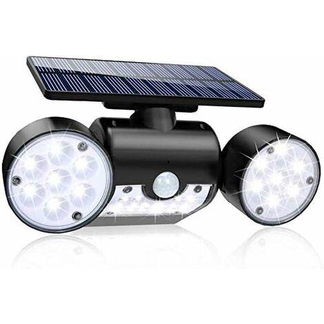 LITZEE Luz solar para exteriores con sensor de movimiento a prueba de agua IP65, luz puntual Luz solar inalámbrica para pared exterior con 3 cabezas de seguridad de luz para jardín, patio, entrada de garaje