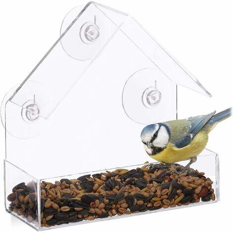 LITZEE Mangeoire à Oiseaux fenêtre, 3 ventouses, Distributeur de graines, Nichoir, HLP : 15 x 15 x 7 cm, Transparent, Acrylique, PVC
