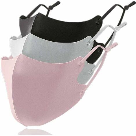 LITZEE Masques Tissu Lavable Froid -3℃ RéUtilisables 3 Pcs Conception 3d Unusage Quotidien Public Adulte